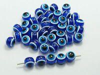 "100 Royal Blue Acrylic Kabbalah Evil Eye Ball Round Beads 10mm (3/8"")"