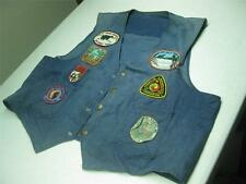 VINTAGE DISTRESSED west cal .45 motorcycle vest medium with PATCHES EAGLE ART