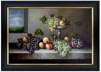 Framed, Still Life with Fruits by Window, Hand Painted Oil Painting 24x36in