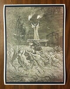 Literature 1870 Original Antique Gustave Dore Engraving Mounted and Matted Adventures of Baron Munchausen Available Framed