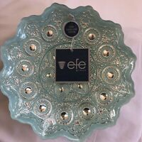 Efe Glass Turkish Aqua & 100% Genuine Silver Hand-Decorated Bowl!  Beautiful!!