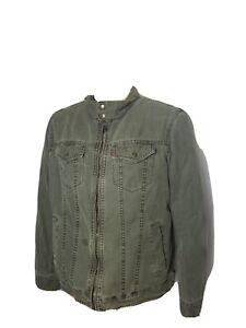 Levi's Levi Strauss Mens Denim Jacket Military Green Size Medium Full Zip