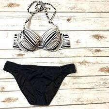 Victoria Secret Swim 34C Large Bikini Bathing Suit Black White Striped Underwire