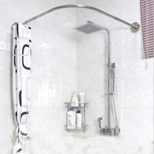 Adjustable Curved Shower Curtain Rod 17-24inch Bath Tub Bathroom Rail Hanger