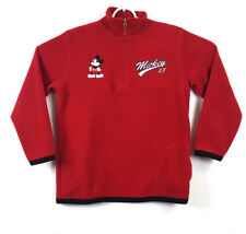 Disney Womens Sweater Fleece Pullover Jacket 1/2 Zip Mickey Mouse Red Size M