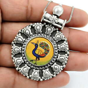 Halloween Sale Man-Made Glass Jewelry Silver Antique Peacock Picture Pendant W23