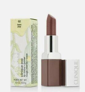 Clinique Pop Lip Colour + Primer - 02 Bare Pop - Full Size .13 oz. - Boxed