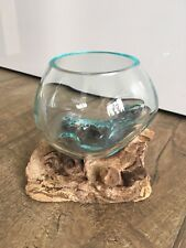 Clear Molten Glass On Teak Driftwood Base Decorative Bowl Vase Terrarium Planter