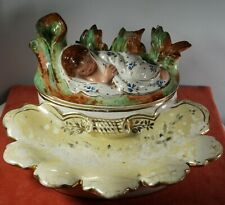 Porcelain Desk Tray Double Inkwell Baby Moses Bulrushes Late 1800's Lovely