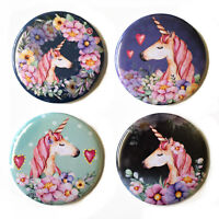 Unicorns Fridge Magnets Set #1 55mm 4pc Floral Magical Pink Decor Gift