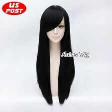 70CM Alice Madness Returns Women Long Straight Black Hair Anime Cosplay Wig