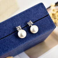 Elegant 18K White Gold Filled Crystal Genuine Freshwater Pearl Stud Earrings