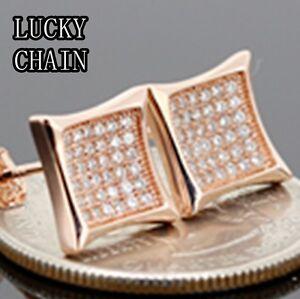 MEN`S 925 STERLING SILVER LAB DIAMOND ROSE GOLD STUD EARRING(10mm x 10mm)E157