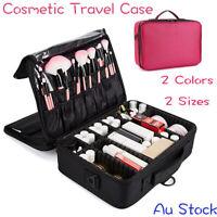 Portable Makeup Bag Cosmetic Case Storage Box Travel Black Red Au Stock