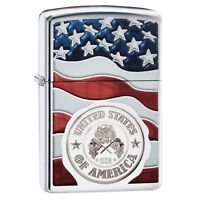 Zippo American Stamp on Flag Lighter 29395