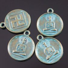 30PCS Antiqued Bronze Tone Alloy Budha Charms Pendant Findings 22*18*2mm 39209