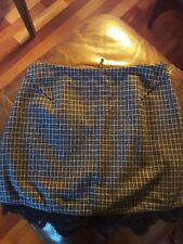 TOPSHOP MINI SKIRT - GREY/BLUE CHECK + LACE EDGING - UK SIZE 12 - NEW