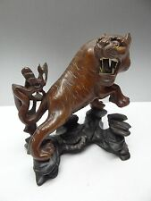 Vintage Old Hand Carved Ironwood Glass Bone Bali Sculpture Tiger Figurine Art