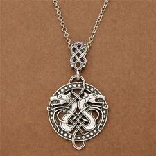 Norse Viking Celtic Knots Dragon Pendant Necklace Double Dragon Pendant Chain