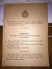 REGIO DECRETO FISSA ASSEGNI INTERPRETI 1^ CAT REGI UFFICI DIPLOMATICI CONSOLARI