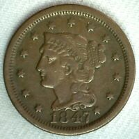 1847 Braided Hair US Large Cent Coin 1c US Coin VF Very Fine Circulated Penny