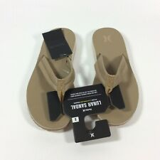 Hurley Lunar Leather Flip Flop Sandals Mens Size 8 Canteen Brown