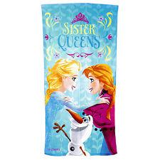 Disney Frozen Sister Queens Anna Elsa Olaf Kids Cotton Velour Beach Bath Towel