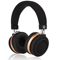 Audiomate BT970 Compact Wireless Bluetooth Stereo Over-Ear Headphones Gold/Black