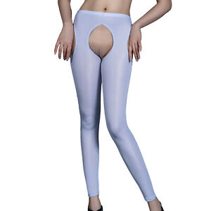 Women Hollow Out Open Crotch Tight Pantyhose Skinny Pants Underwear Bodystocking