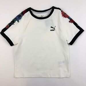 Puma Premium Embellished T7 Shirt Women's White Cropped Fitted Stretch M L
