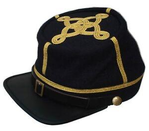US Civil War Union Leather Peak Colonel/Majors 3 braids Leather Peak Navy Kepi