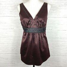 New York & Company Sleeveless Satin Top Blouse Size 4 Black Red V-Neck