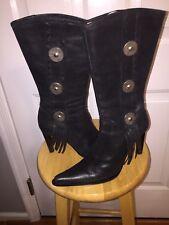 Rare!! La Silla Black Western Tassel Stud Boots Stiletto Heal Size 7 U.S. 37 EU