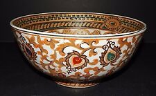 "Traditional Ceramic Accents  Gold Green Red Decor 10"" Bowl  Multi-Color"