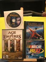 Used ~ Racing, Fantasy, Flying PC Video Game Lot of 4 (Nascar, Age of Empires...
