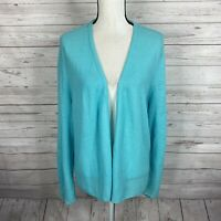 J. Jill Womens Open Front Knit Cardigan Sz 2X Blue Long Sleeve Linen Blend