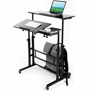Zytty Mobile Standing Desk, Adjustable Computer Desk Rolling Laptop Cart on