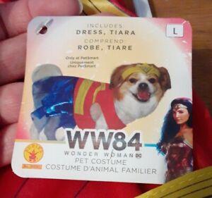 Large Wonder Woman (WW84) Dog Costume Pet Superhero Outfit Rubies NWT