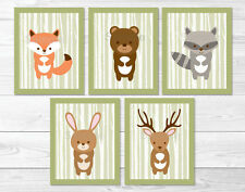 Woodland Forest Animals & Birch Trees Printable Nursery Wall Art