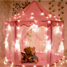 Girls Kids Princess Castle Play Tent Large Playhouse Toy Pink + Rug + Star Light