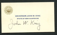 John W. King d. 1996 signed autograph Governor New Hampshire Business Card BC509