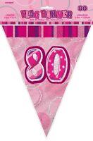GLITZ PINK FLAG BANNER 80TH BIRTHDAY 3.6M/12' BIRTHDAY PARTY PLASTIC FLAG BANNER
