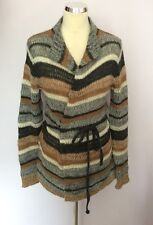 OUI MOMENTS GREY,TAN & CREAM STRIPE WOOL TIE WAIST CARDIGAN SIZE S