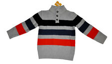 Gymboree Boy's Grey Sweater size XS size 4 striped navy and orange NWT