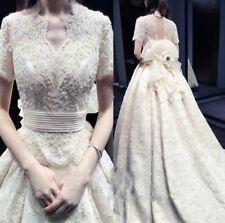 Lace V Neck A-line Short Sleeve Wedding Dresses