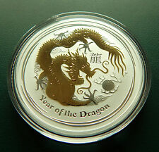 2012 Australia Year Of The Dragon GILDED 999 Silver 1 Oz. Coin COA and BOX