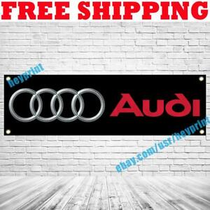 AUDI Logo Banner Flag 18x59 in Car Racing Show Garage Wall Decor Sign 2021 NEW