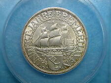 GERMAN WEIMAR Republic Silver 3 Mark Comm: BREMERHAVEN, 1927-A,  ANACS MS63