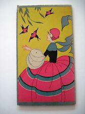 Vintage Art Deco Bridge Score Booklet w/ Girl In Pink Skirt & Pink Birds *