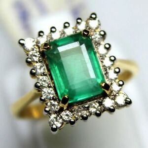 Natural Emerald Faceted Octagon Gemstone 18K Yellow Gold Women Engagement Ring